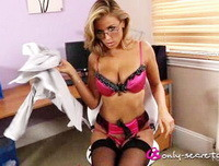 Rosie W feels hot in the office and removes her tight skirt