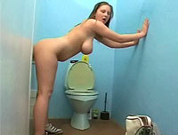 German Denisa gets fucked in toilet