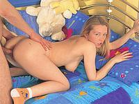 A young, blonde girl gets ger pussy pounded