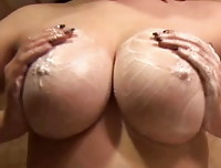 Chubby Girls: Haley rubbing her large breasts. This girl is perfectly chubby.
