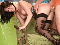 Rosa gets so hot and wet by the sight of his engorged cock she just has to suck it and have him slam it in her!