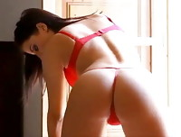Coral May Hall in red lingerie