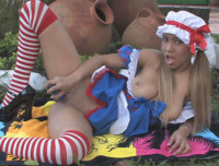 Tania Spice fucks her ass with a toy while dressed as a sexy doll