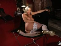 Tammy shows extremely hot strip wearing only white hold ups and high heels.