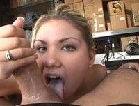 One look at blonde cutie Aubrey Adams and you know you're in for a good time.  Just watching her wrap both her hands around this big cock with a lot more room to spare is enough to know this is a gal who's greedy for cock and cum.