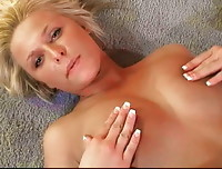 Kendra Rain bouncing her titties on the ground and rubbing her hard nipples