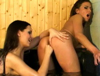 Two gorgeous lesbians Riesa and Eve Angel making out in the spa