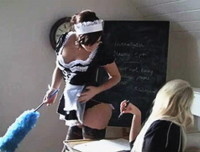 St. Mackenzies: Naomi Raineis in detention again, and as she sits and writes her lines Maid Chloe comes in to clean the classroom. Naomi loves Chloe and her sexy little outfit and as she admires her Chloe slowly teases her and then starts to strip. Feeling a little naughty Naomi decides to strip off her cute little uniform too leaving them both naked!