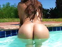 Celeste Star soaking wet and gorgeous in the pool