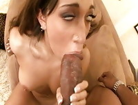 Leona Dulce stuffs pussy and mouth with enormous black cock