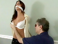 Cali Logan - an old guy touches her boobs and her ass while she is bounded