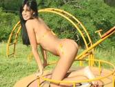 Karla Spice - Hot latina teen wears an orange bikini on her perfect body
