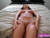 Melissa rubs lotion all over her young naked body