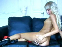 Pretty4ever: Sexy blonde gets naked on the leather couch