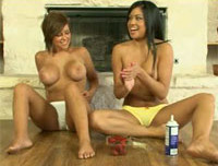Cierra Spice and Layla get naughty with some whipped cream and strawberries on their naked bodies