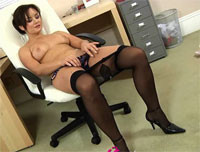 Jana B shows a sexy strips in the office.