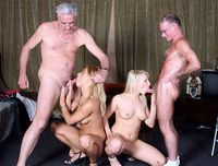 Two old men fuck two young girls