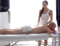 Ludmila 18, gets a massage from her new client